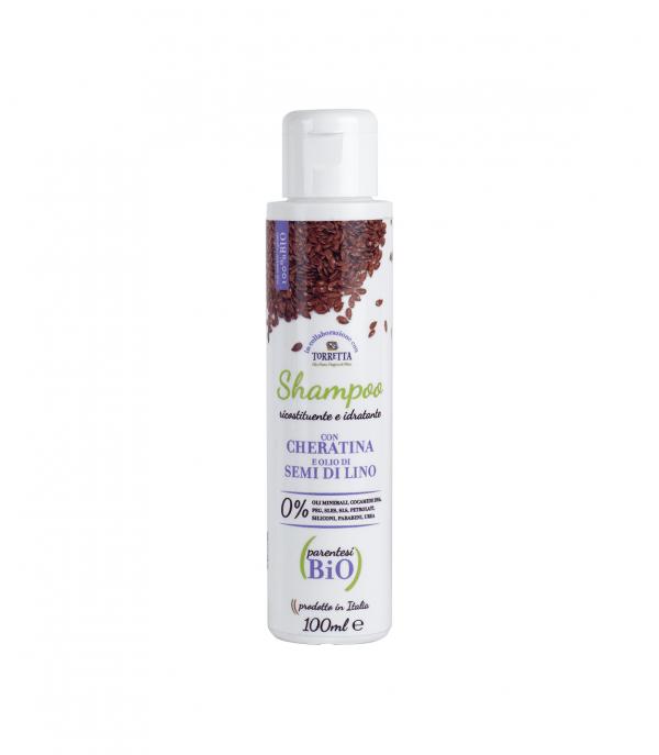 Shampoo ricostituente e idratante con cheratina e olio di semi di lino (minisize)