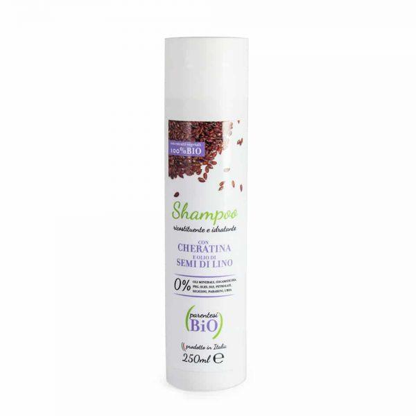 Shampoo ricostituente e idratante con cheratina e olio di semi di lino